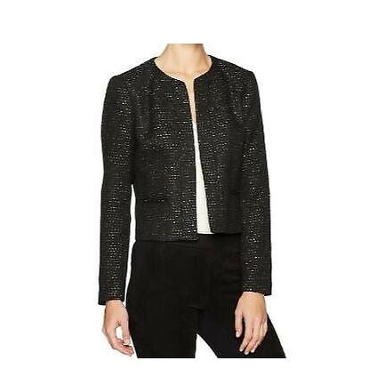 Nine West Womens Black Sequin Open Front Blazer SZ 12