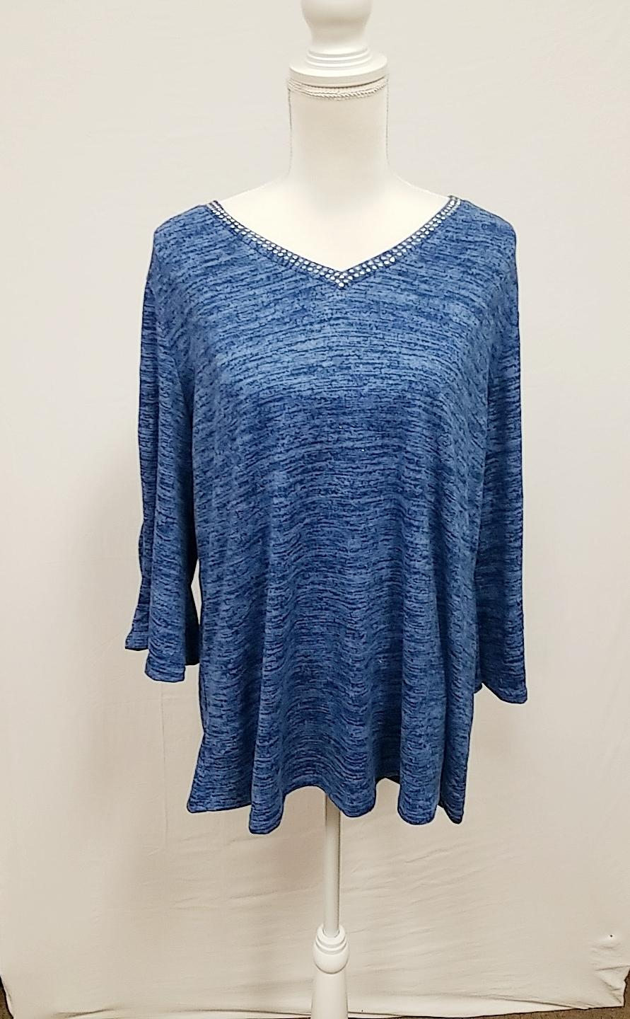 NY Collection Blue bell sleeve top 2X-NEW