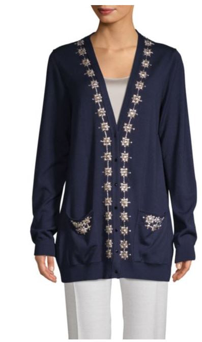 Oscar de la Renta Embellished Wool & Silk Sweater-L/G