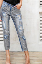 Fashion Sequin Hole Blue Jeans*
