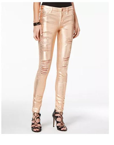 Guess Metallic Ripped Skinny Jeans-27