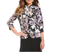 Alex Evenings Womens Purple Floral Metallic Evening Jacket-M