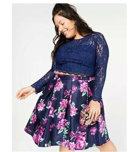 Sequined Hearts Purple Floral Skirt-13