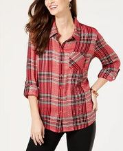 Style&Co. Sequined Red Plain Top -1X