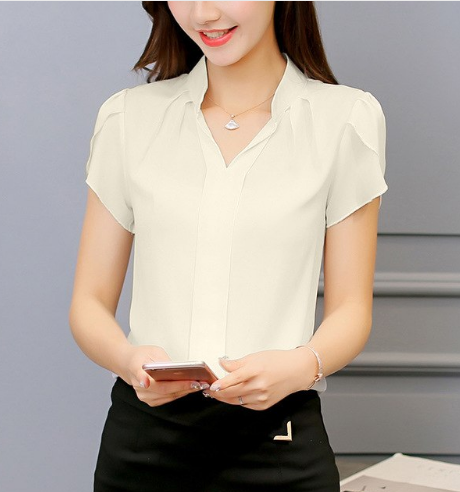 Elegant short sleeve Woman's Blouse