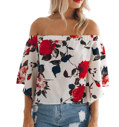 Off-The-Shoulder Back Split Blouse