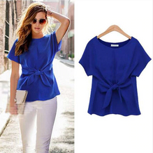 Short Sleeve Bow Blouse