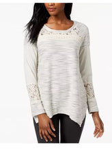 Style & Co Asymmetrical Lace-Contrast Knit Top, Large