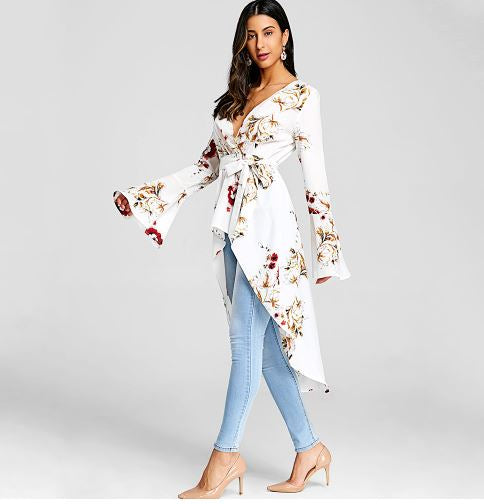 Woman's Bell Sleeve Long Floral Blouse*