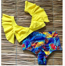 Ruffled High Waist Push Up Swimwear*