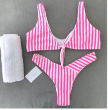 Sexy Stripped Push Up Woman's Two Piece Swim Suit*