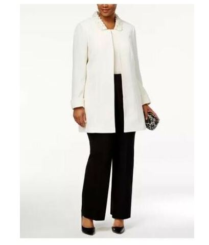 Tahari White Beaded Collar Cuffed Jacket-16W