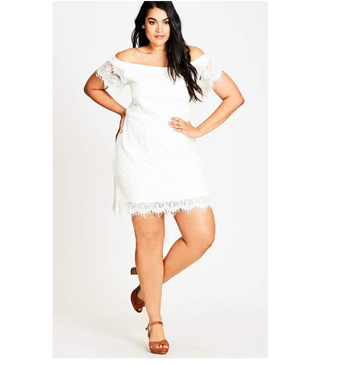 CityChic Lace Off Shoulder Dress Ivory24