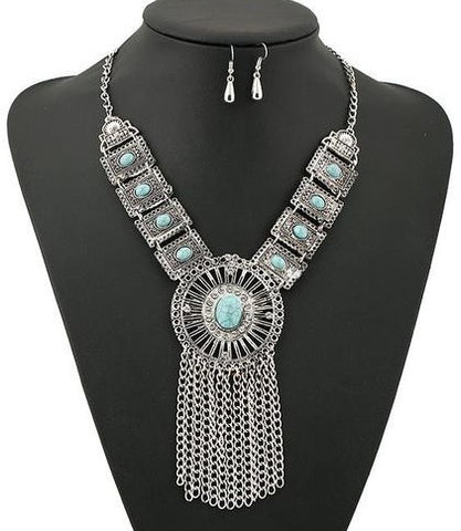 "FREE!! Statement Bohemian Jewelry Set Necklace & Earrings ""CADENCE"" in Black or Blue"