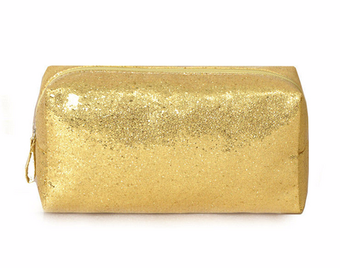 "FREE Glitter Cosmetic Bag ""SHINE"" in Silver or Gold"