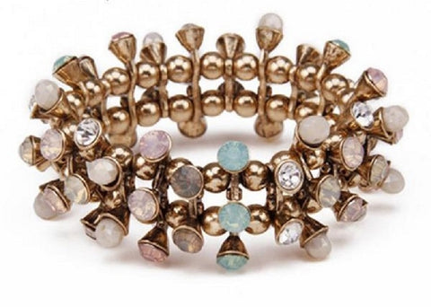"FREE!! Statement Bracelet ""ELLIE"" with Rhinestones in Pink Blush Pink Turquoise Blue and Peach"