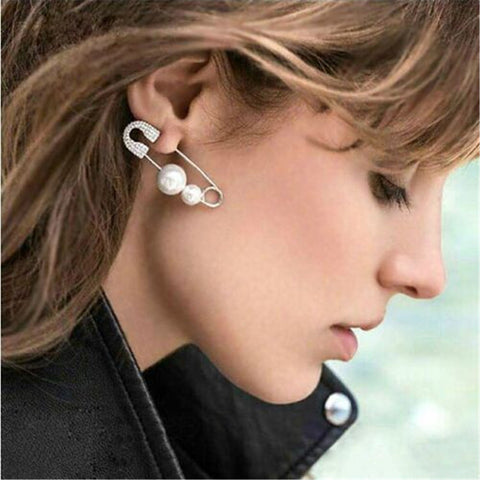 "FREE 1 piece Fashion Safety Pin Earrings with pearls ""PUNK"""