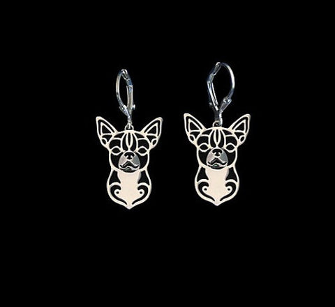 "FREE Chihuahua Earrings ""CHIHUAHUA"" in Silver or Gold"