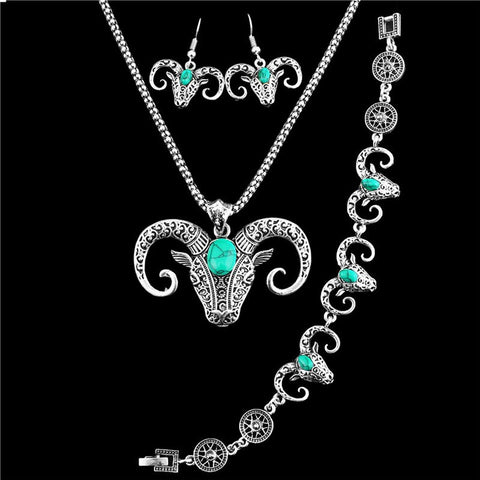 "FREE jewelry set ""BULL"" necklace, earrings and bracelet"