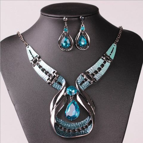 "FREE!! Statement Jewelry Set Necklace & Earrings ""SAFFRON"" with Blue Stones"