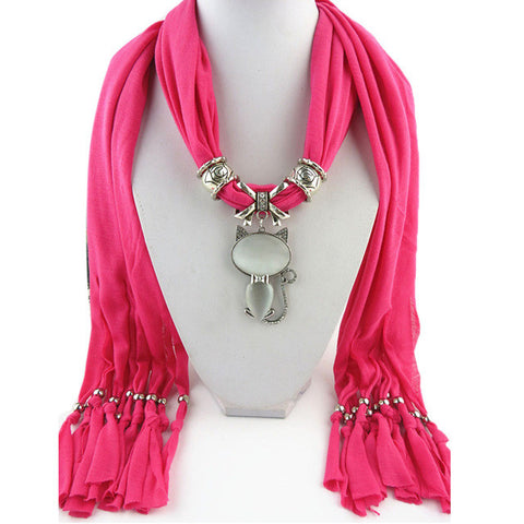 "FREE Cat Pendant Scarf ""CAT LADY"" in red, pink, green, blue, white, red, blue"