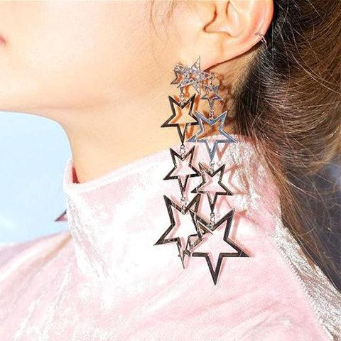 "FREE!! Fashion 2017 Trend Stars Beautiful Statement Earrings ""STARS"" in Silver or Gold"