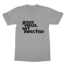 Jesus Virus (Black): Unisex Short Sleeve T-shirt (with Symptoms)