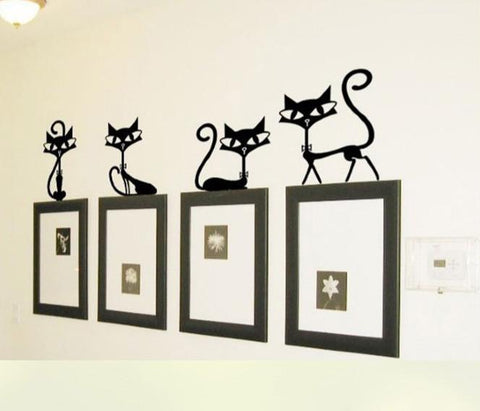 4 Black Stylish Cats Removable Wall Decals - GottaHaveNow.com