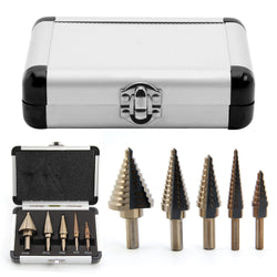 5 Piece HSS Titanium Step Drills + Aluminum Box