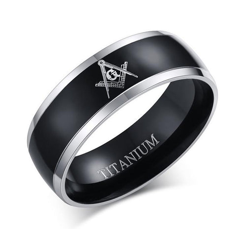Black Gun Plated Titanium Freemason Ring - GottaHaveNow.com