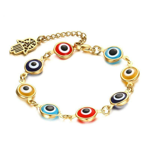 Gold Plated Third Eye & Hamsa Charm Chain Bracelet - GottaHaveNow.com