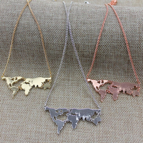 World Map Necklace - GottaHaveNow.com