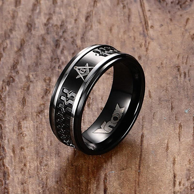 Black Plated Men's Freemason Ring - GottaHaveNow.com