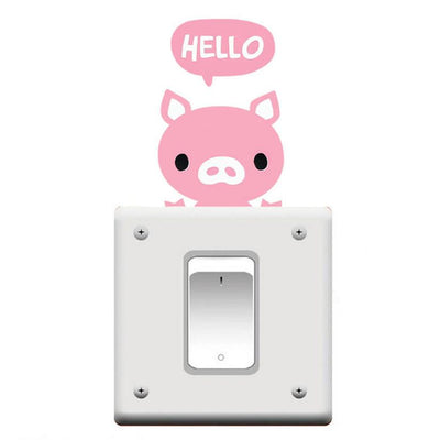 Cute Animal Light Switch Removable Wall Decal