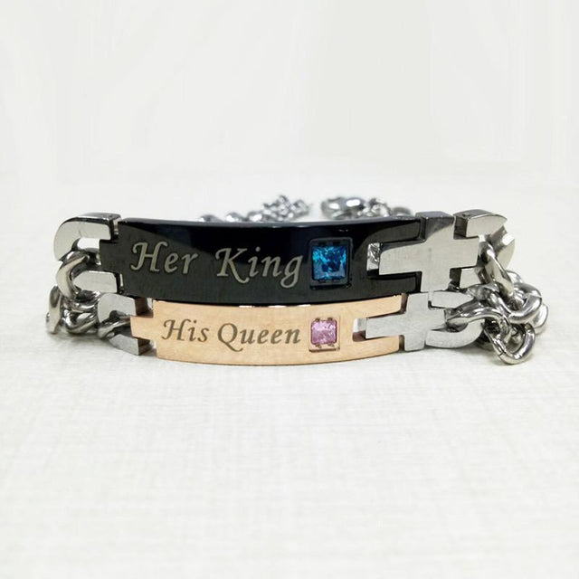"""His Queen""""Her King "" Couple Matching Bracelets - GottaHaveNow.com"