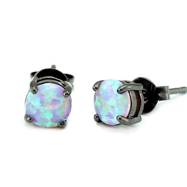 Glam Black Gold Plated Crown Opal Earrings - GottaHaveNow.com