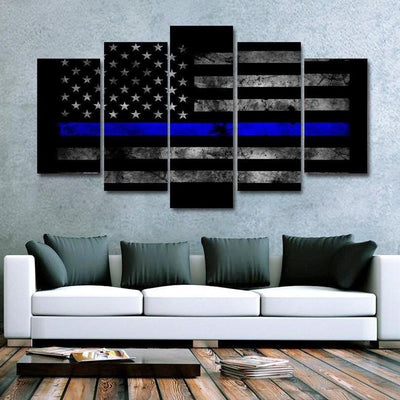 Thin Blue Line - 5 Panel Canvas