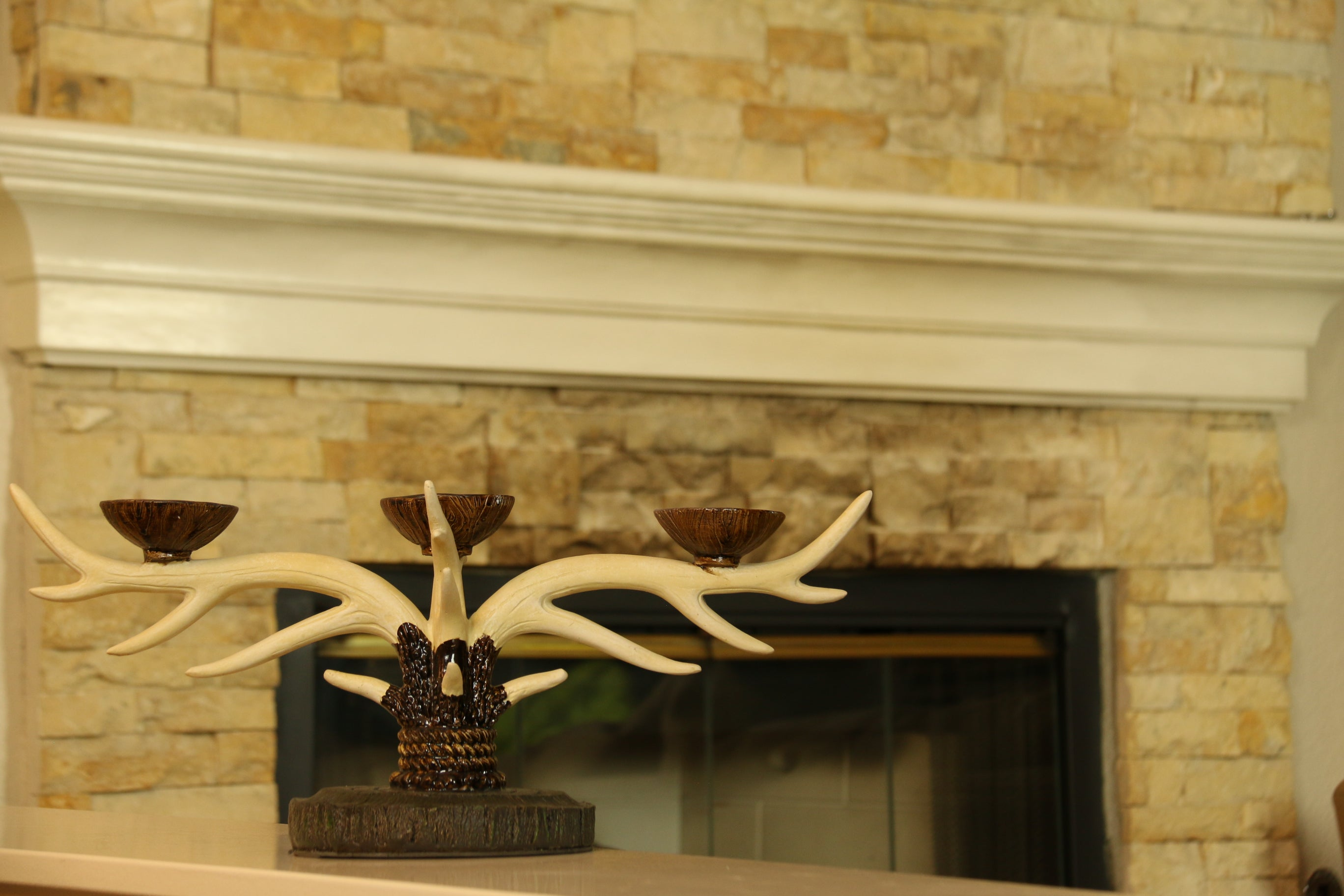 Deer Antler Centerpiece 3-Candle Holder Elk Horn Hunting Lodge Cabin ...