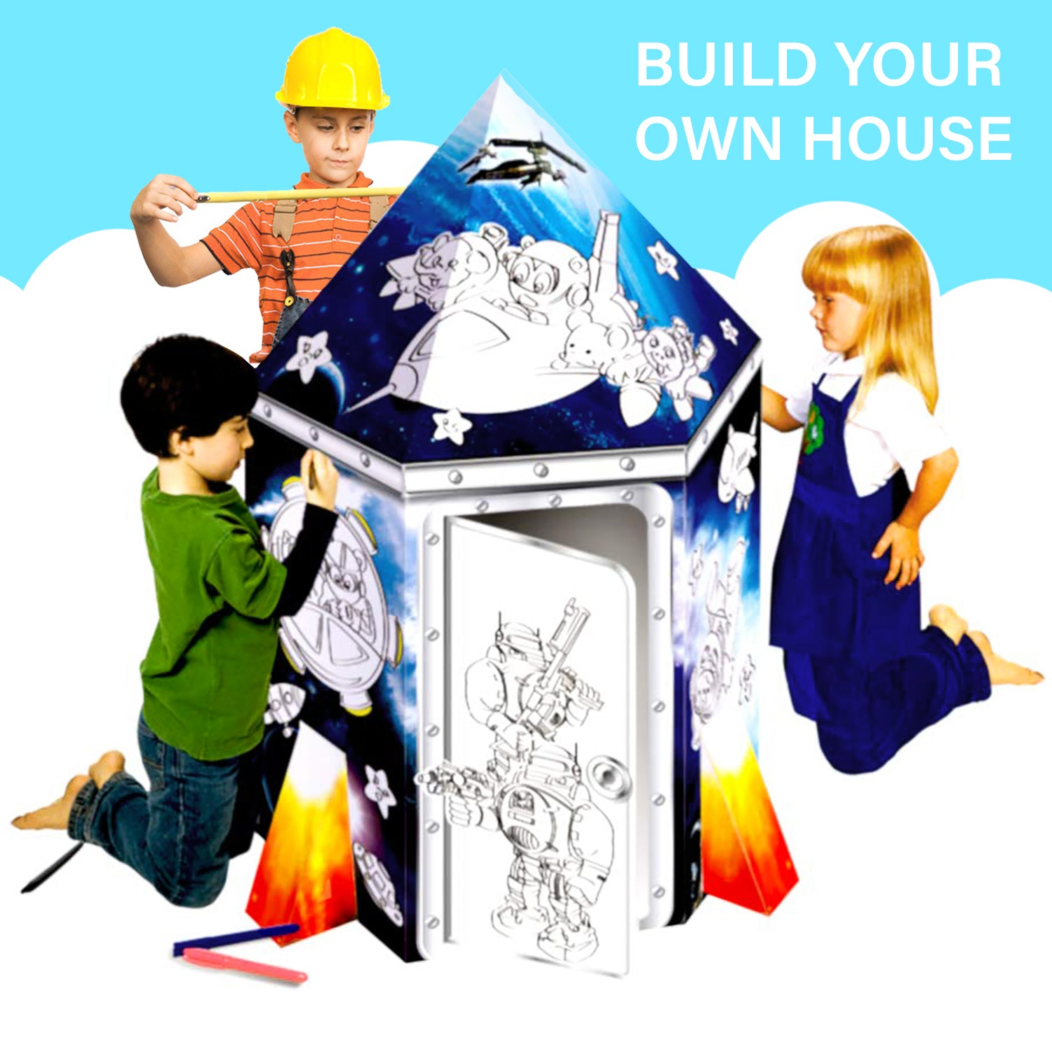 Rocket Ship Playhouse - Coloring Cardboard House – Oh! Trendy