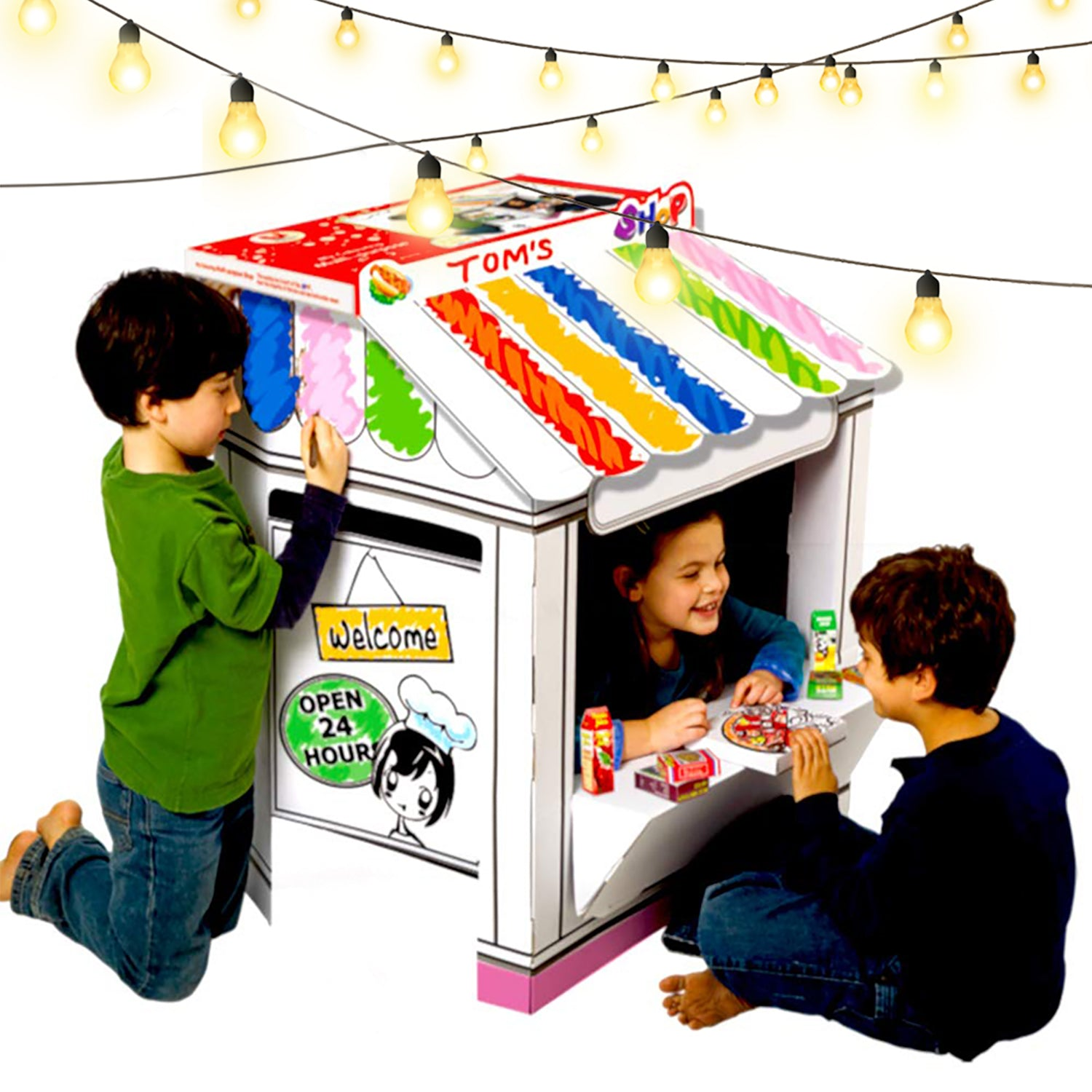 Shop Playhouse - Coloring Cardboard House