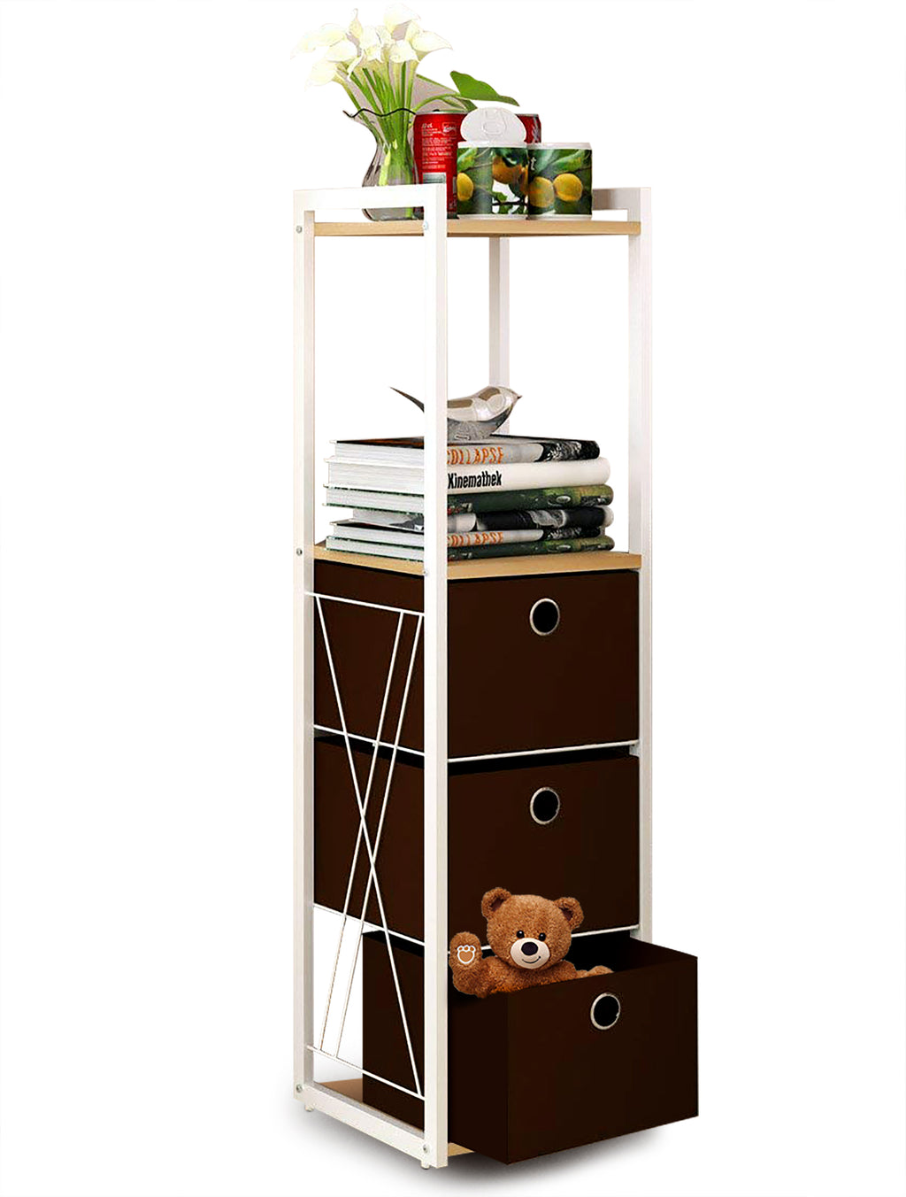 5-Tier Storage Organizer Standing Tower Shelf Multipurpose Storage Rack with 3 Removeable Bins