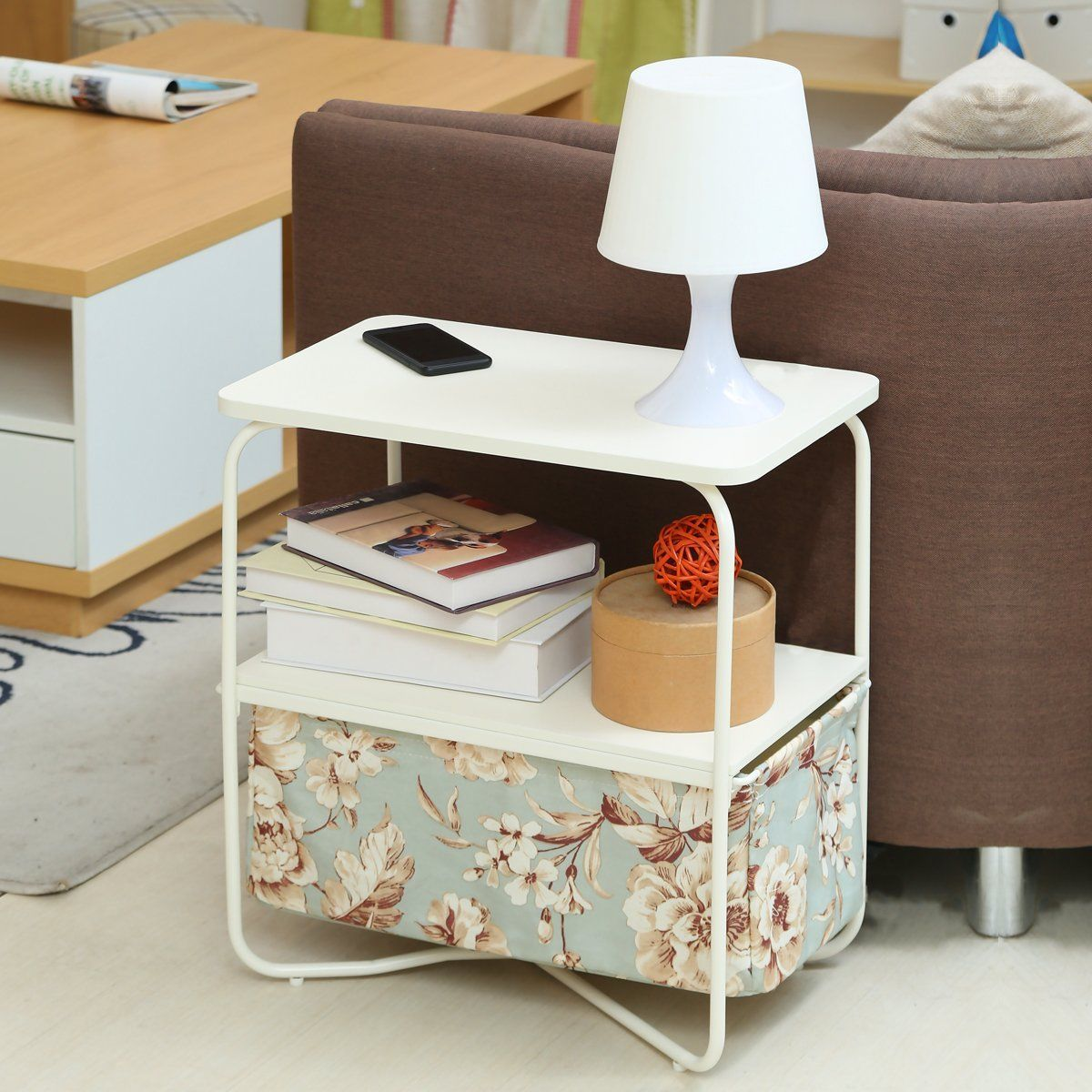3 Tier End table Nightstand Side Table with Removable Canvas Storage Bin  For Living Room, Bed Room or Small Spaces