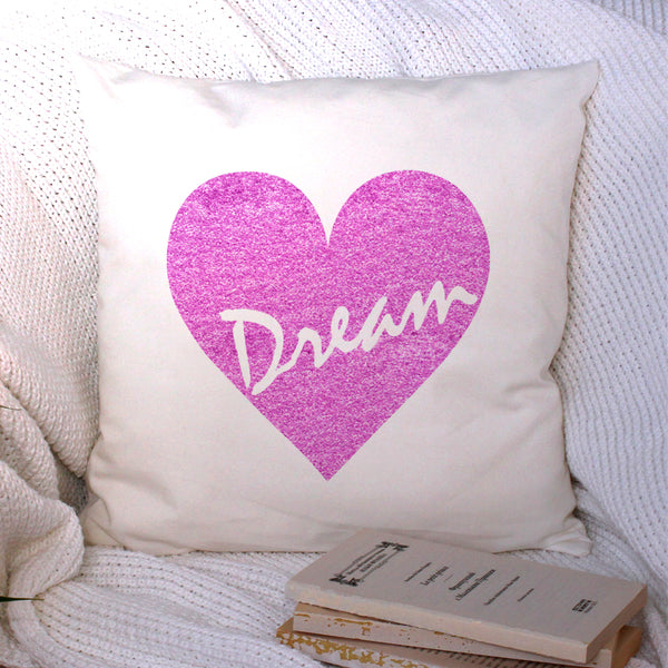 pink heart dream cushion cover