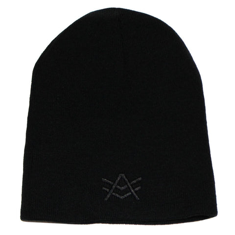 Black Beanie with Black Logo Embroidery