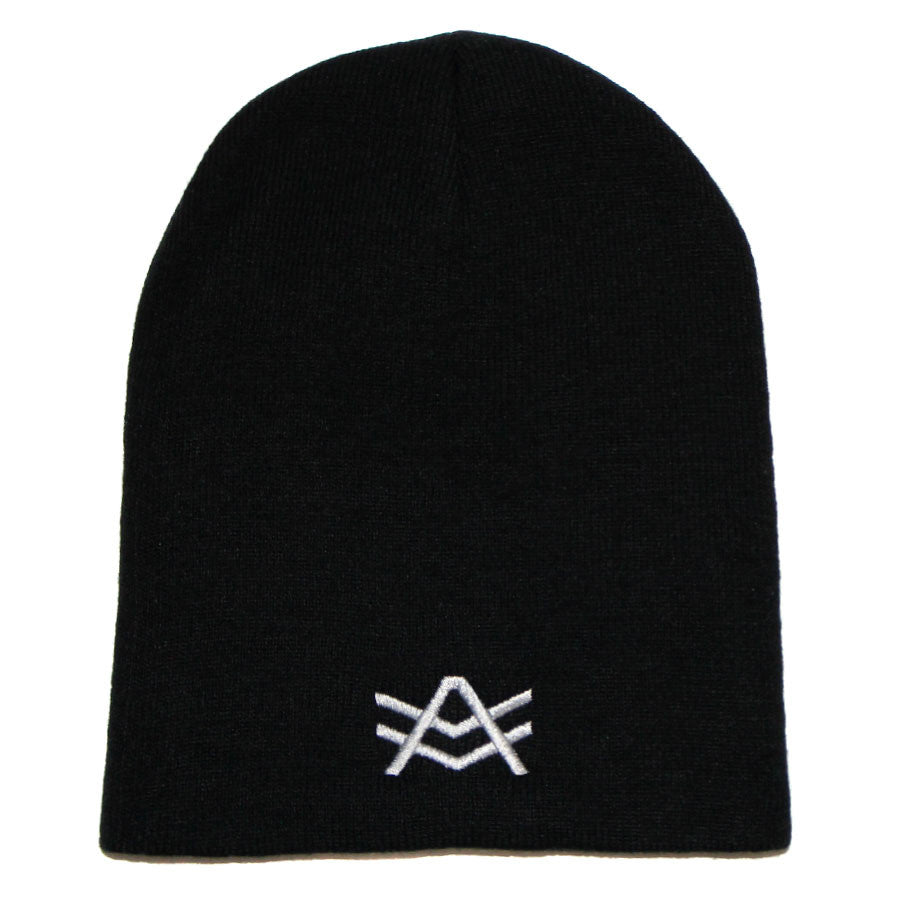Black Beanie with Silver Logo Embroidery