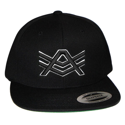 Black Snapback with Black/White Logo