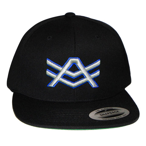 Black Snapback with White/Blue Logo