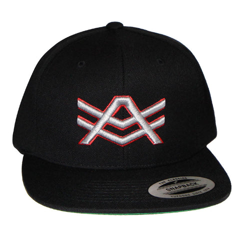 Black Snapback with White/Red Logo