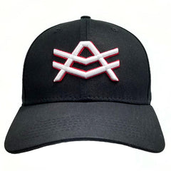 HS13 Black Baseball Cap Snapback White/Red AV Logo
