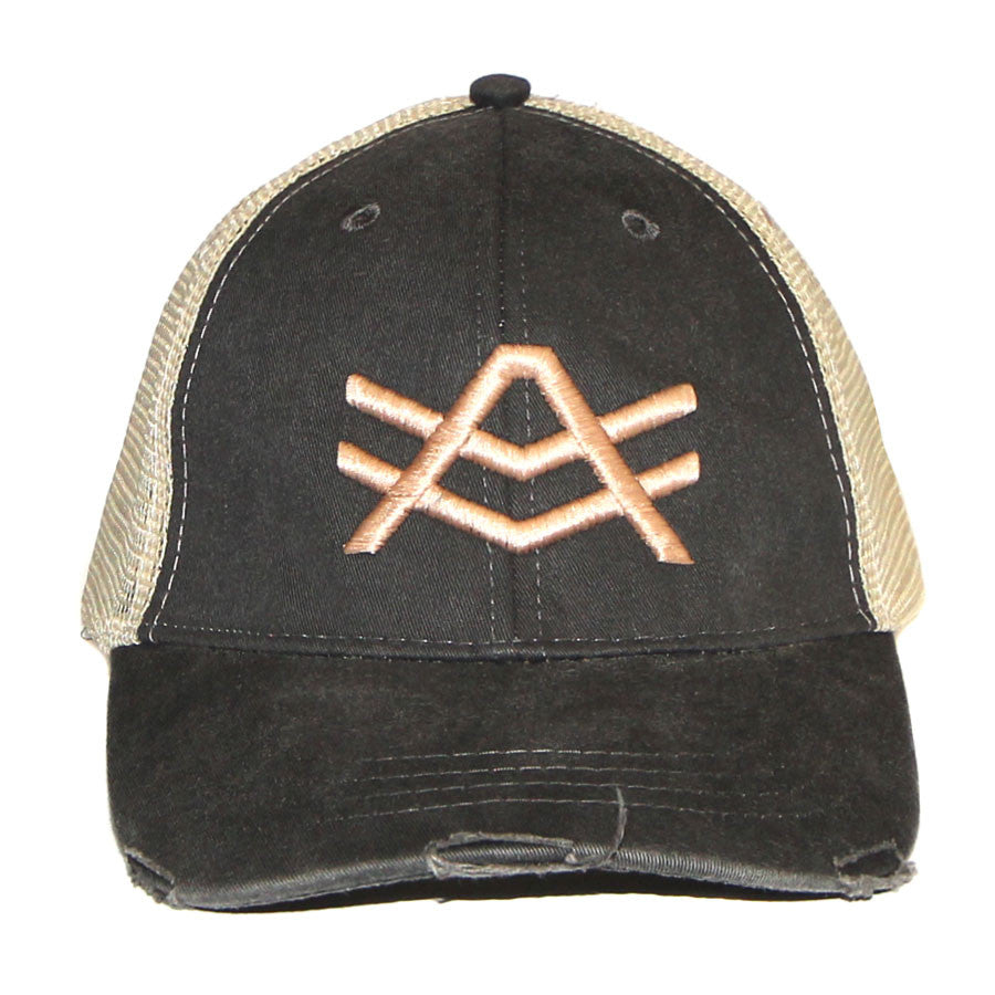 HS1 Black/Tan Distressed Snapback Tan AV Logo